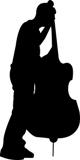silhouette contrabbassista
