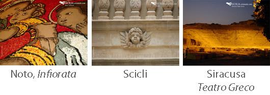 Sfondi scrivania Sicilia Infiorata di Noto, il barocco di Scicli, Teatro Greco di Siracusa